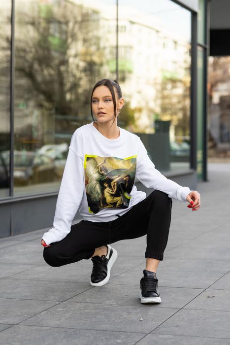 Set bluza imprimata si pantalon Oversized Easy-Fit Off White/Black [3]
