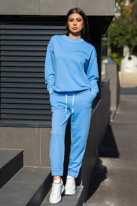 Set Easy-Fit bluza si pantalon Oversized  Aqua Blue [1]