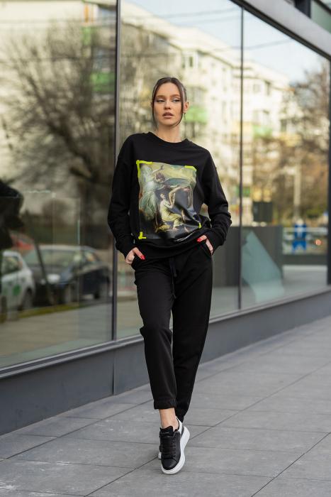 Set Easy-Fit bluza imprimata si pantalon Oversized Black [0]