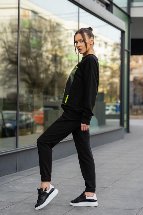 Set Easy-Fit bluza imprimata si pantalon Oversized Black [6]
