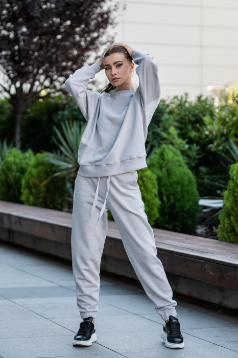 Set Easy-Fit bluza oversized si pantalon Grey [5]
