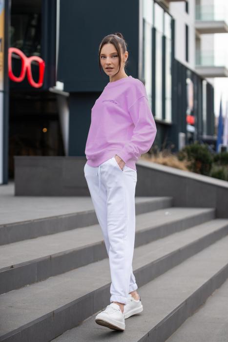 Set Easy-Fit bluza si pantalon Oversized Rose/Off White [9]