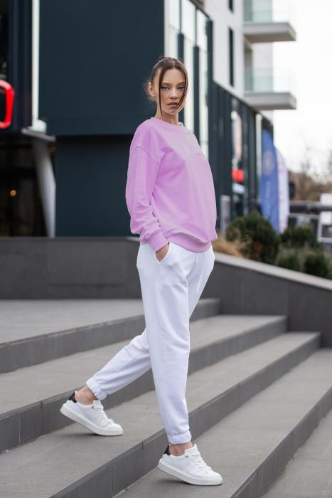 Set Easy-Fit bluza si pantalon Oversized Rose/Off White [0]