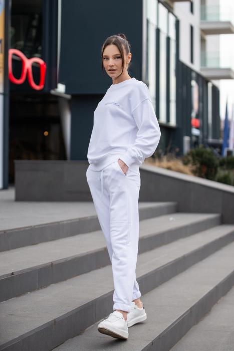 Set Easy-Fit bluza si pantalon Oversized Off White [6]