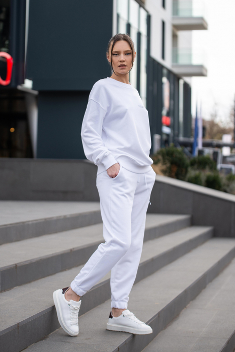 Set Easy-Fit bluza si pantalon Oversized Off White [5]