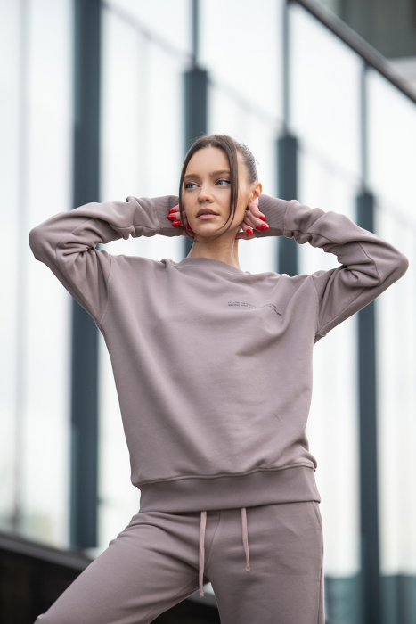 Set bluza si pantalon Oversized Easy-Fit Warm Taupe [4]