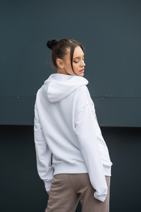 Set hanorac si pantalon imprimat Oversized Easy-Fit Off White/Taupe [5]