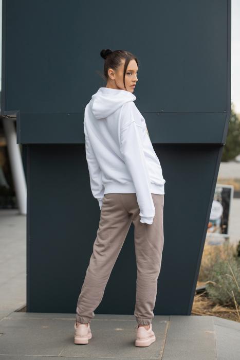 Set hanorac si pantalon imprimat Oversized Easy-Fit Off White/Taupe [2]