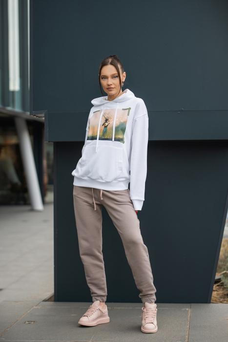 Set hanorac si pantalon imprimat Oversized Easy-Fit Off White/Taupe [1]