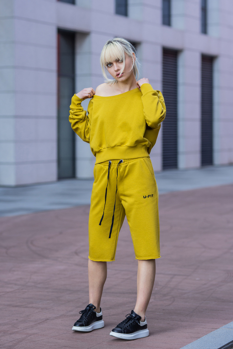 Set Undone Bluza si Pantalon Scurt Mustard Yellow [2]