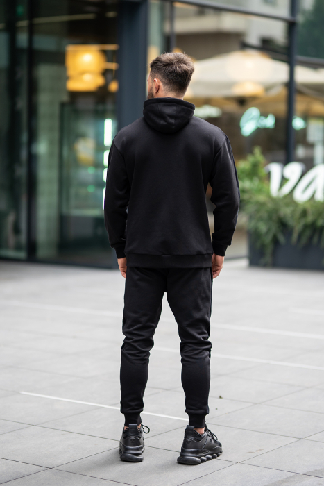 Set Cotton Blend hanorac si pantalon conic all black [3]