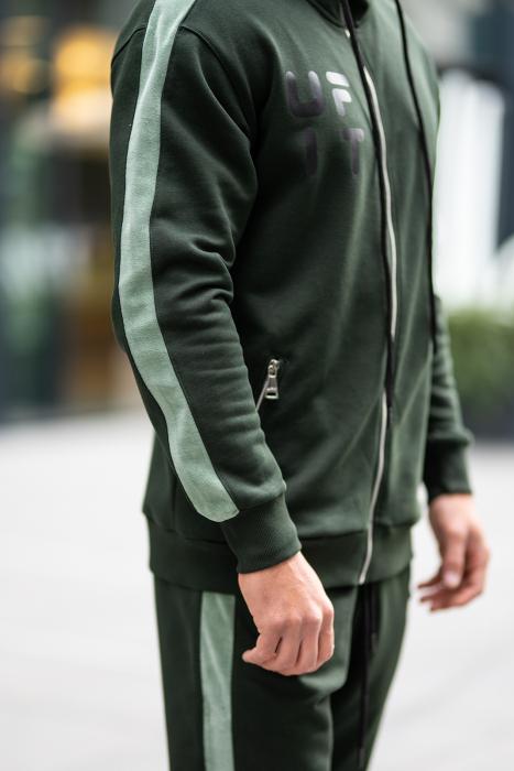 Set Cotton Blend hanorac si pantalon conic dark green [10]