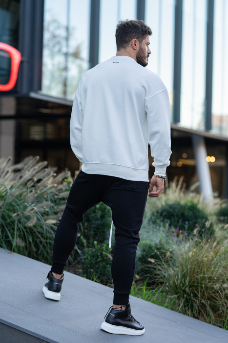 Set Easy-Fit bluza imprimata si pantalon conic White/Black [4]