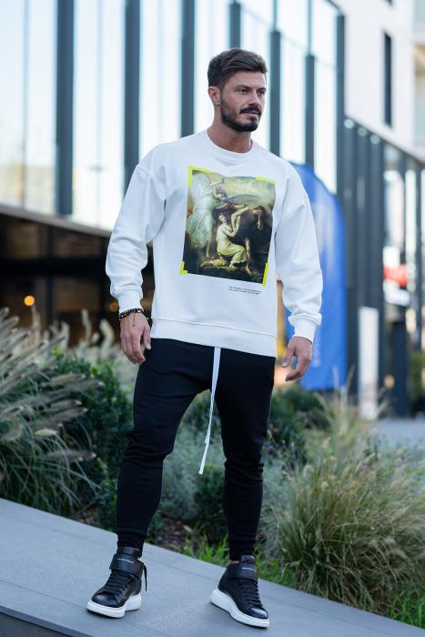 Set Easy-Fit bluza imprimata si pantalon conic White/Black [2]