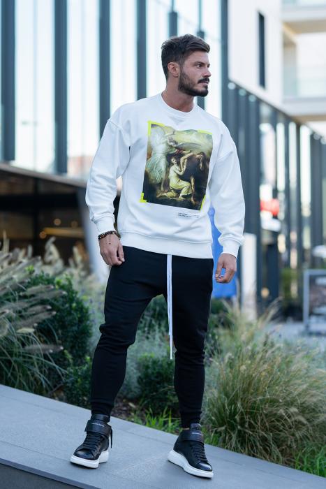 Set Easy-Fit bluza imprimata si pantalon conic White/Black [1]