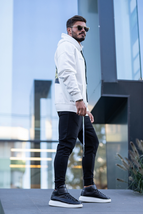Set Easy-Fit hanorac imprimat si pantalon conic White/Black [1]