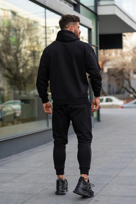 Set Easy-Fit hanorac imprimat si pantalon conic negru [4]