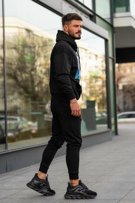 Set Easy-Fit hanorac imprimat si pantalon conic negru [3]