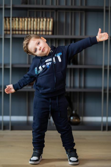 Set Easy-Fit Kids hanorac imprimat si pantalon Navy [3]