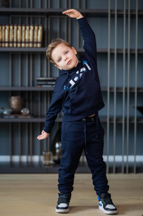 Set Easy-Fit Kids hanorac imprimat si pantalon Navy [1]