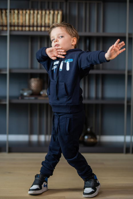 Set Easy-Fit Kids hanorac imprimat si pantalon Navy [0]