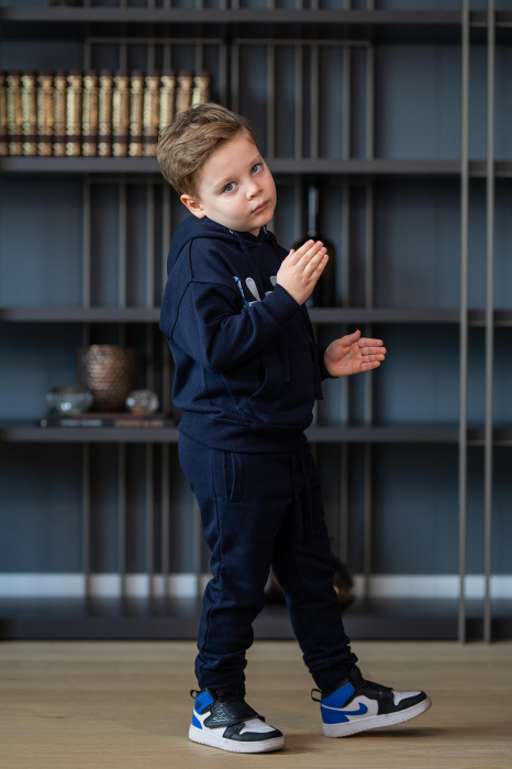 Set Easy-Fit Kids hanorac imprimat si pantalon Navy [2]
