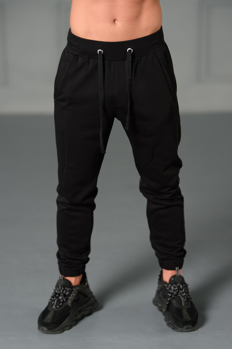 Set Easy-Fit hanorac imprimat si pantalon conic cu tur lasat Black [7]
