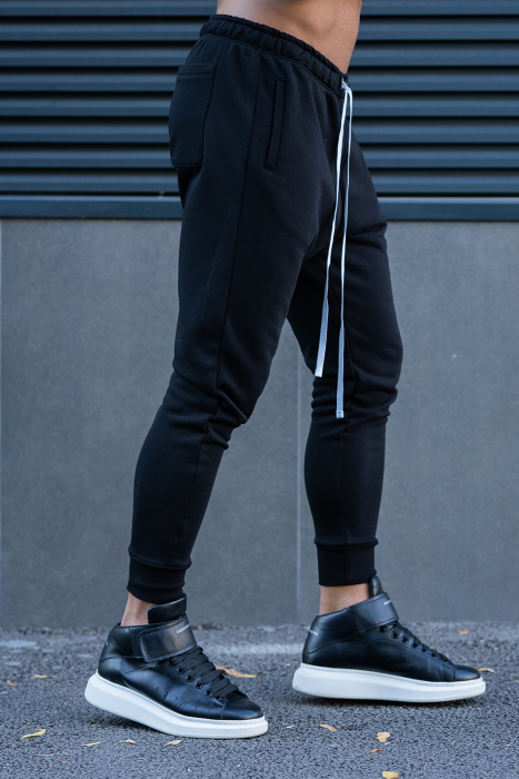 Set Easy-Fit bluza imprimata si pantalon conic negru [11]