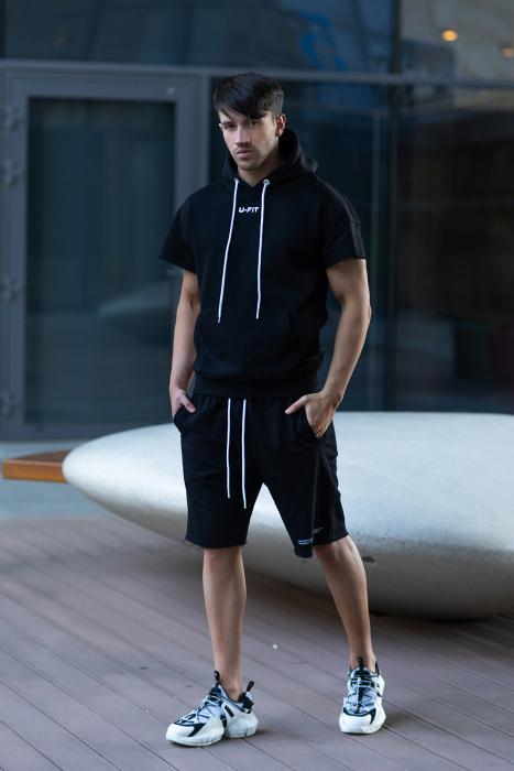 Set Malibu hanorac si pantalon scurt Black [3]