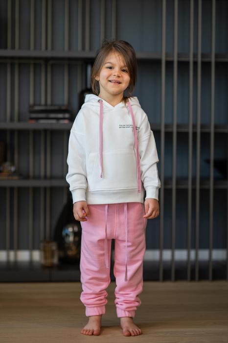 Set Easy-Fit Kids hanorac si pantalon White/Rose [1]