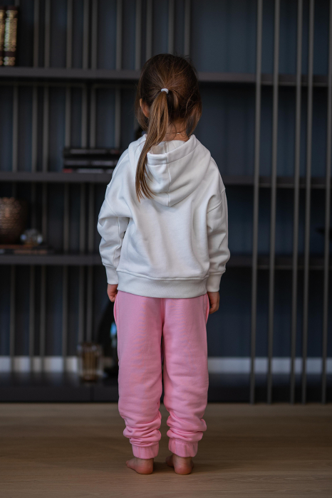 Set Easy-Fit Kids hanorac si pantalon White/Rose [4]