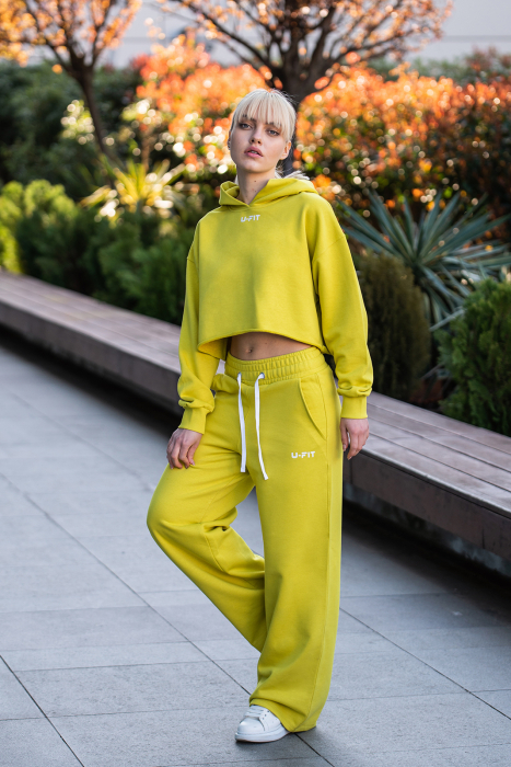 Set Love hanorac imprimat si pantalon Lime Green [1]
