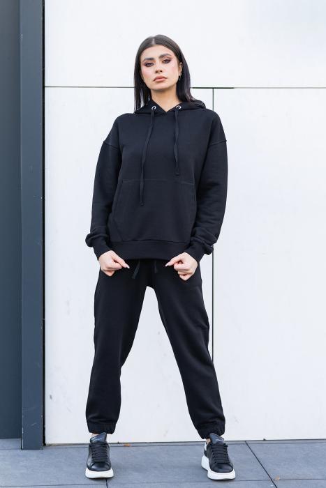 Set Easy-fit hanorac imprimat si pantalon Oversized Black [4]