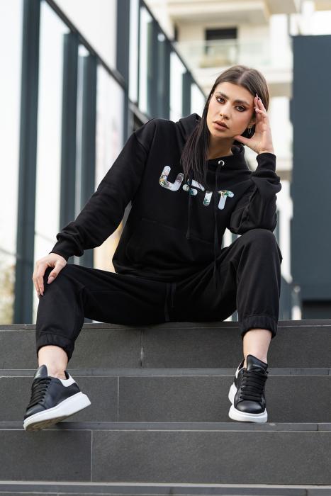 Set hanorac imprimat si pantalon Oversized Easy-Fit Dark Black [0]