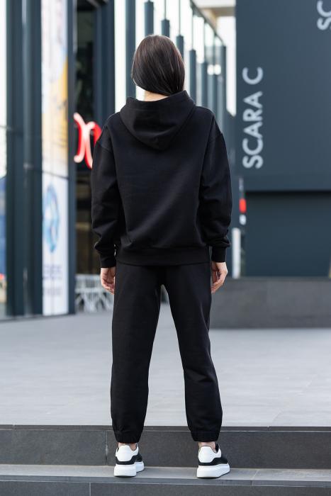 Set hanorac imprimat si pantalon Oversized Easy-Fit Dark Black [4]