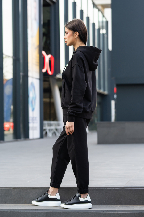 Set hanorac imprimat si pantalon Oversized Easy-Fit Dark Black [3]