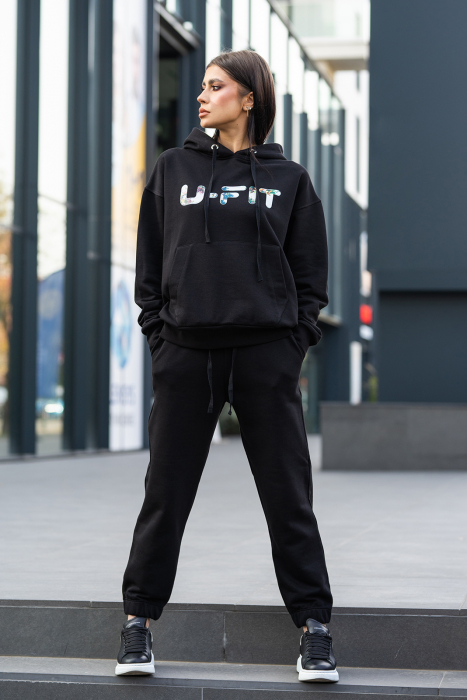 Set hanorac imprimat si pantalon Oversized Easy-Fit Dark Black [2]