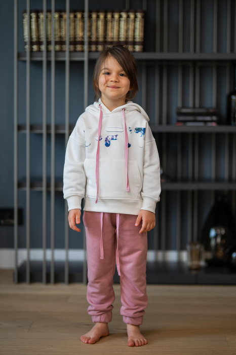 Set Easy-Fit Kids hanorac imprimat si pantalon White/Rose Quartz [0]