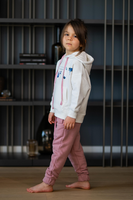 Set Easy-Fit Kids hanorac imprimat si pantalon White/Rose Quartz [3]