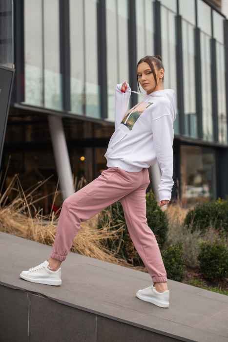Set hanorac si pantalon imprimat Oversized Easy-Fit Off White / Rose Quartz [5]