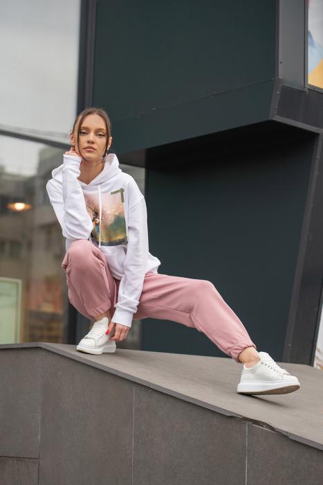 Set hanorac si pantalon imprimat Oversized Easy-Fit Off White / Rose Quartz [6]