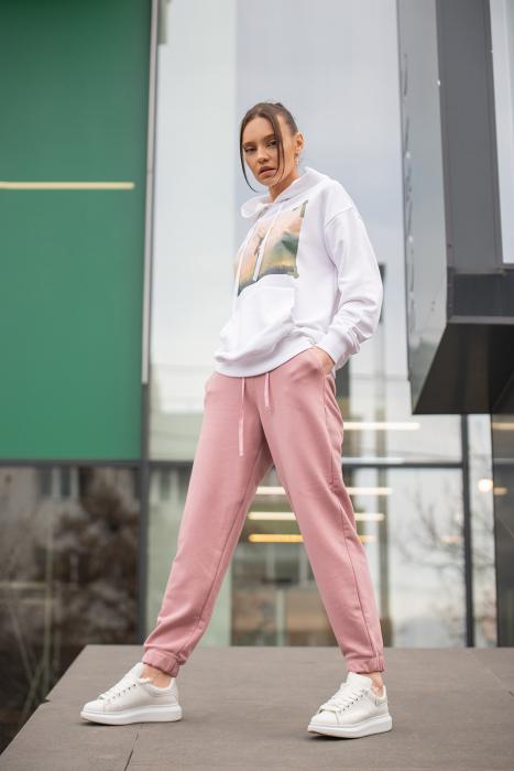 Set hanorac si pantalon imprimat Oversized Easy-Fit Off White / Rose Quartz [4]