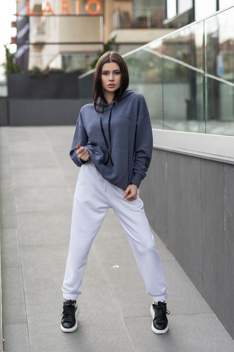 Set Easy-Fit hanorac si pantalon Oversized Anthracite Grey/White [2]