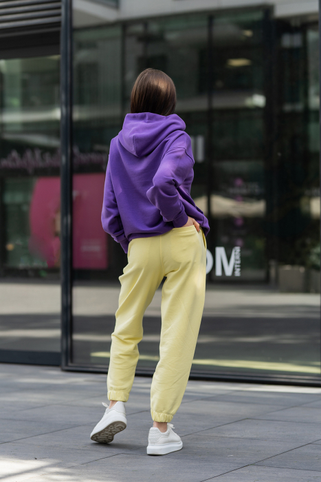 Set hanorac si pantalon Oversized Easy-Fit Mauve/Yellow [3]