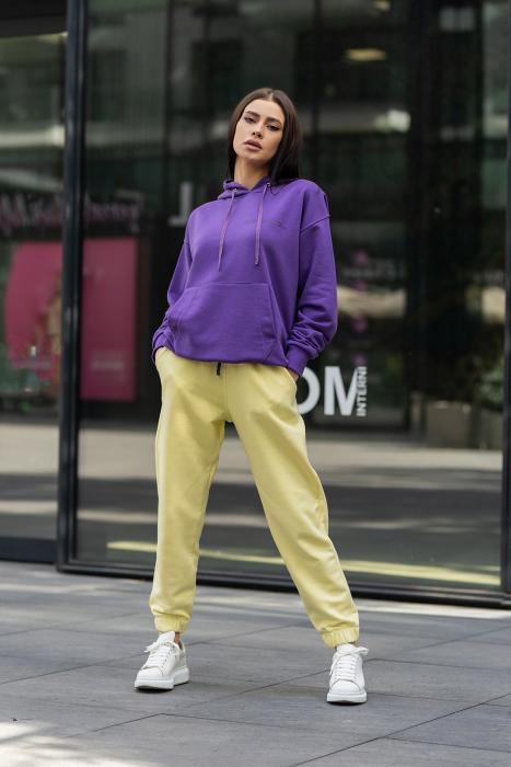 Set hanorac si pantalon Oversized Easy-Fit Mauve/Yellow [0]