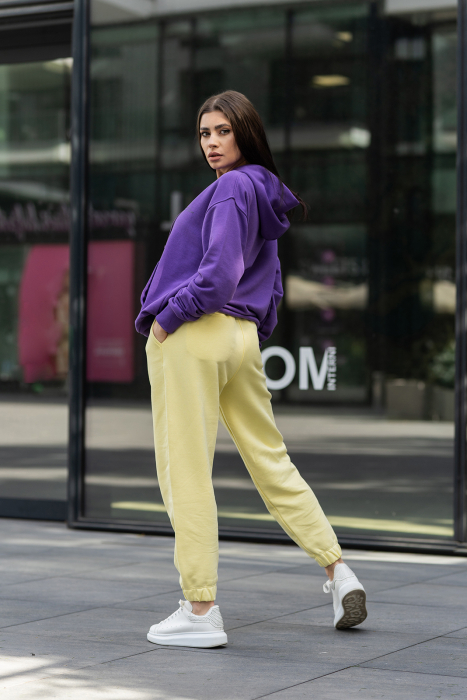 Set hanorac si pantalon Oversized Easy-Fit Mauve/Yellow [1]