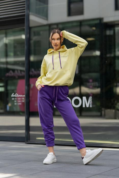 Set hanorac si pantalon Oversized Easy-Fit Yellow/Mauve [1]