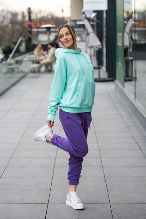 Set hanorac si pantalon Oversized Easy-Fit Mint/Mauve [1]