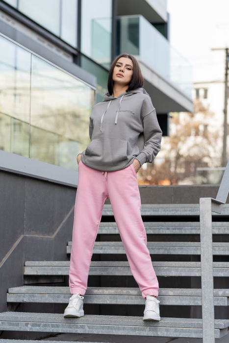 Set hanorac si pantalon Oversized Easy-Fit Grey/Rose [0]