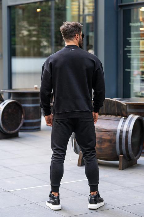 Set Easy-Fit bluza imprimata si pantalon conic negru [5]